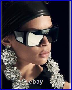 Tom Ford ATTICUS FT0710 TF 710 01C Black Grey Silver Mirror Oversized Sunglasses