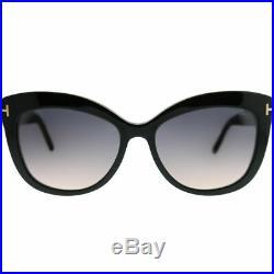 Tom Ford Alistair TF 524 01B Shiny Black Plastic Sunglasses Grey Gradient Lens