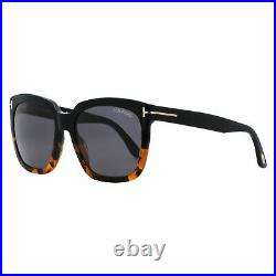 Tom Ford Amarra Square Sunglasses TF502 05A Black/ Havana 55mm 502