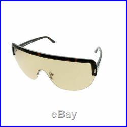 Tom Ford Angus TF 560 52E Dark Havana Plastic Shield Sunglasses Light Brown Lens
