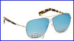 Tom Ford April TF393 TF 393 FT0393 28X Shiny Rose Gold Blue Mirror Sunglasses