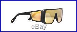 Tom Ford Atticus TF 710 01G Sunglasses Black Frame Orange Gold Mirror 132mm