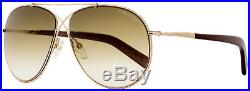 Tom Ford Aviator Sunglasses TF374 Eva 28F Rose Gold/Chalkstripe Brown FT0374
