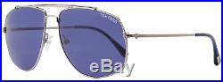 Tom Ford Aviator Sunglasses TF496 Georges 14V Ruthenium/Blue Horn FT0496