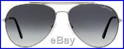 Tom Ford Aviator Sunglasses TF497 Indiana 18B Rhodium/Black 60mm FT0497