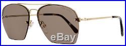 Tom Ford Aviator Sunglasses TF505 Whelan 28E Gold/Brown Horn FT0505