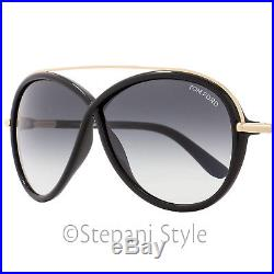 Tom Ford Butterfly Sunglasses TF454 Tamara 01B Black/Gold FT0454