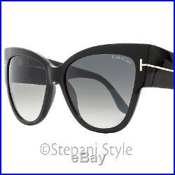 Tom Ford Cateye Sunglasses TF371 Anoushka 01B Shiny Black FT371