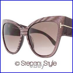 Tom Ford Cateye Sunglasses TF371 Anoushka 50F Iridescent Chalkstripe Brown FT371