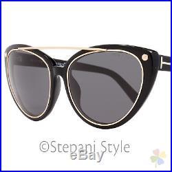 Tom Ford Cateye Sunglasses TF384 Edita 01A Shiny Black/Gold FT0384