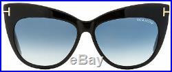 Tom Ford Cateye Sunglasses TF523 Nika 01W Shiny Black 56mm FT0523