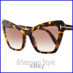 Tom Ford Cateye Sunglasses TF555 Valesca-02 52F Havana FT0555