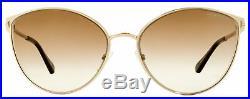 Tom Ford Cateye Sunglasses TF654 Zeila 28F Gold/Dark Havana 60mm FT0654