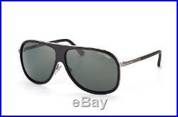 Tom Ford Chris Square Aviator Sunglasses Black Gunmetal Grey Green Ft 0462 02n