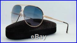 Tom Ford Cliff TF 450 28P Rose Gold Aviator Sunglasses Blue Gradient Lens Siz 61