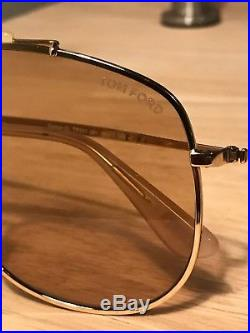 Tom Ford Connor Sunglasses Gold Aviators Excellent Condition