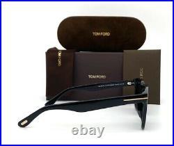 Tom Ford DAX FT0751 01V Black / Blue 50mm Polarized Sunglasses TF0751
