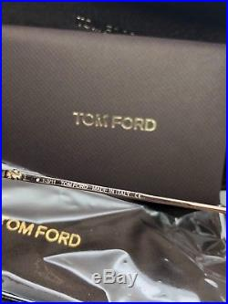 Tom Ford Dunning TF6 TF-6 772 Black / Gold Leather Square Aviator Sunglasses