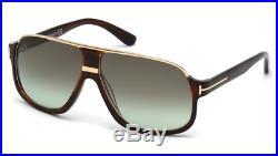 Tom Ford Elliot TF 335 56K Havana & Gold Sunglasses Green Gradient Lens Size 60