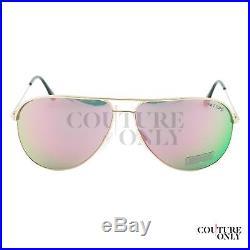 Tom Ford Erin FT0466 29Z Women Rose Gold Pink Flash Lens Aviator Sunglasses 61