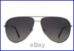 Tom Ford Erin Polarized Aviator Sunglasses Matte Palladium Smoke Grey 0466 17d