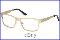 Tom Ford FT 5475 32E Eyeglasses Rectangular Gold Brown Frame Clip Sunglasses New