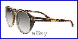 Tom Ford FT0383/S 56B JOAN Yellow Havana Round Sunglasses