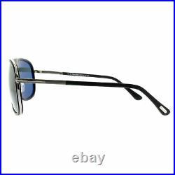Tom Ford FT0462 02N Matte Black Aviator 100% UV Green Lens Sunglasses