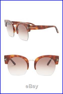 Tom Ford FT0552W Savannah Clubmaster Havana Frame Brown Len Sunglasses 55 22 140