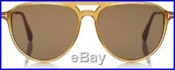 Tom Ford FT0587 39J Carlo Aviator Shiny Yellow Roviex Sunglasses TF587 39J