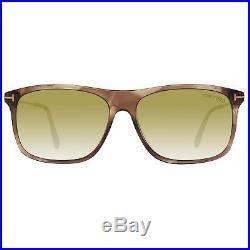 Tom Ford FT0588 47N Max-02 TF-588 Transparent Brown Gold Rectangular Sunglasses