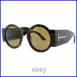 Tom Ford FT0603 52J Dark Havana Round 100% UV Brown Lens Sunglasses