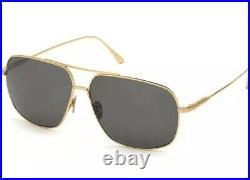 Tom Ford FT0746 746 30A John-02 Gold Grey Lens Titanium Men Aviator Sunglasses