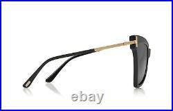Tom Ford FT0767/S 767 01A Tallulah Shiny Black Gold Grey Lens Cat Eye Sunglasses