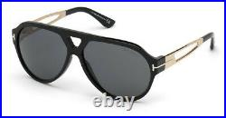 Tom Ford FT0778 01A 0778 Sunglasses Shiny Black Gold Smoke Authentic New 60mm
