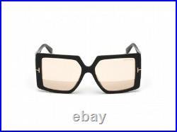 Tom Ford FT0790 790 01Z Quinn Black Gold Mirror Gradient Women Sunglasses Square