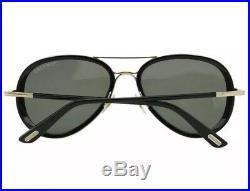 Tom Ford FT341 TF 341 28J MILES Sunglasses Aviator Rose Gold Black Green 55mm
