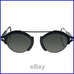 Tom Ford Farrah-02 TF 631 01A Black Plastic Round Sunglasses Grey Lens