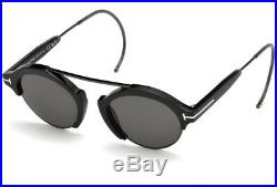 Tom Ford Farrah Oval Unisex Sunglasses Shiny Black Gunmetal Smoke Grey 0631 01a