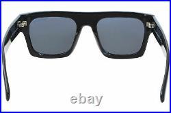 Tom Ford Fausto TF711 01A Sunglasses Men's Shiny Black/Smoke Lenses Square 53mm