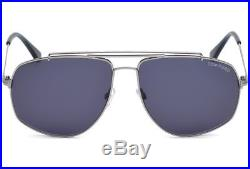 Tom Ford Georges Aviator Sunglasses Shiny Light Ruthenium Blue Ft 0496 14v