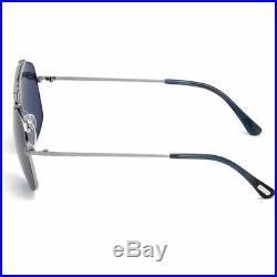 Tom Ford Georges Men Sunglasses Shiny Ruthenium with Blue/Purple Lens FT0496-14V