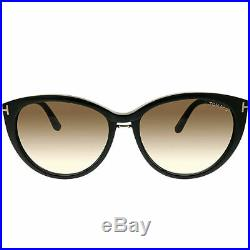 9f020febe6b Tom Ford Gina TF 345 01B Black Plastic Cat-Eye Sunglasses Brown Gradient  Lens