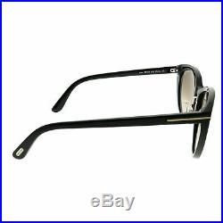 Tom Ford Gina TF 345 01B Black Plastic Cat-Eye Sunglasses Brown Gradient Lens