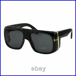 Tom Ford Gino FT-0733-01A Unisex Sunglasses Black Gold Oversized Square Gray 3N