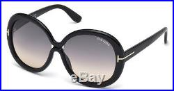Tom Ford Gisella Large Oval Sunglasses Black Smoke Grey Gradient Ft 0388 01b