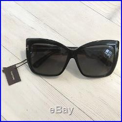 Tom Ford Irina Sunglasses 59mm Polarized Black Oversized Square Women's NEW $455