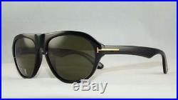 Tom Ford Ivan TF 397 01N BLACK Aviator Sunglasses Green Tempered Lens Size 58