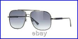 Tom Ford JUDE FT 0669 Dark Ruthenium/Blue Shaded (12W) Sunglasses