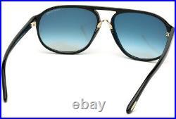 Tom Ford Jacob Tf447f 01p Grey Black Round Pilot Wrapped Sunglasses Mens Tf447
